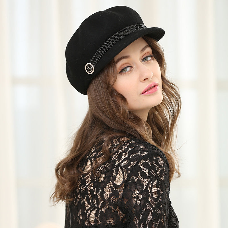 Autumn And Winter Woman Solid Color Octagonal Hat -  Wool Felt Newsboy Caps