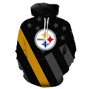 New 3D Hooded Pittsburgh Steelers Print Hoodie* (S 6XL) (Assortment) HUB