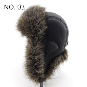 Winter Faux Leather Furry Ear Flap Bomber Hat