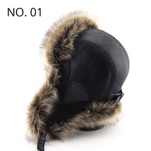 Load image into Gallery viewer, Winter Faux Leather Furry Ear Flap Bomber Hat