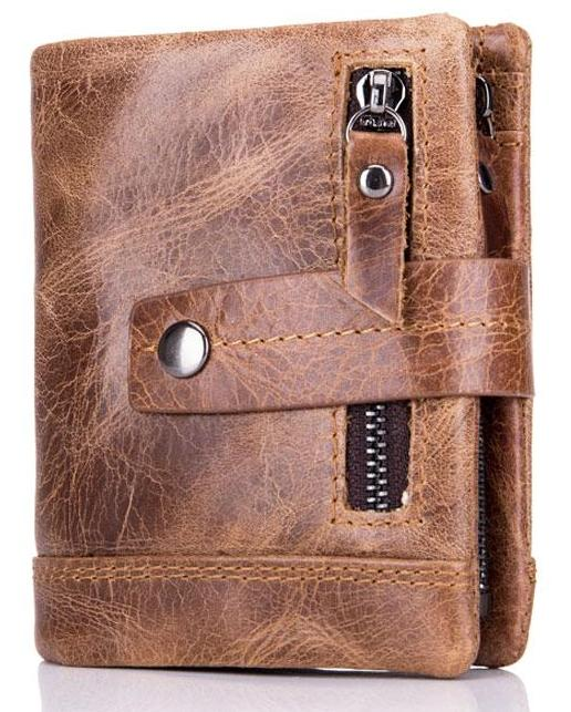 Leather Men Wallet -Trifold Multi-function Men  Card ID Holder