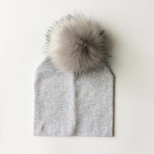 Faux Fur Baby Cap- Pompom Bobble Hat For Kids -Winter Unisex Hats
