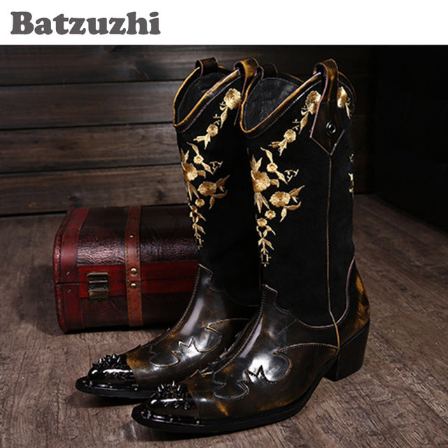 Mens Super-Cool Rock Personality Leather Cowboy/Motorcycle Boots
