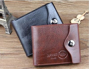 Bi-fold Wallet -Men's Leather Brown Credit ID Card Holder