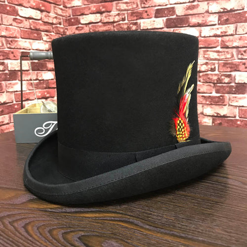 Vintage Traditional Presidential Party Top Hat with Feather