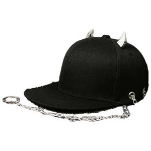 Black Metal and Chain Adjustable Punk Style Novelty Snapback*