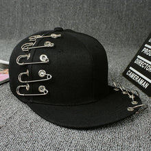 Load image into Gallery viewer, Black Metal and Chain Adjustable Punk Style Novelty Snapback*