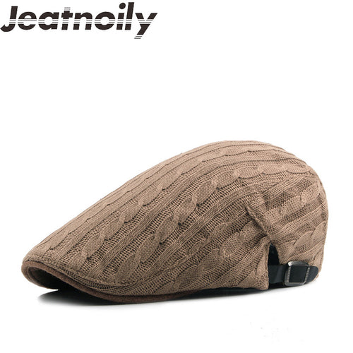 JEATNOILY English Style Wool Knitted Duckbill Hat*