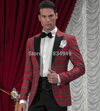 Load image into Gallery viewer, Black and Red 2 Piece Tartan Custom Made Plaid Suit