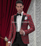 Black and Red 2 Piece Tartan Custom Made Plaid Suit