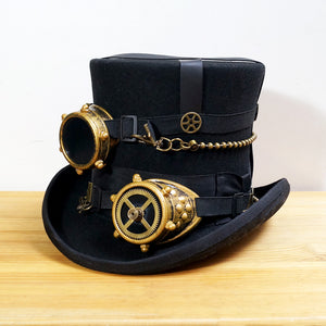 Black 100% Wool DIY Steampunk Millinery Top Hat with Goggles