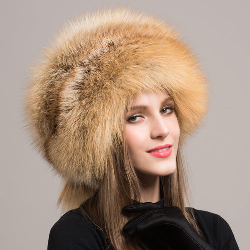 Women's High Quality Warm Natural Fox Fur Hat