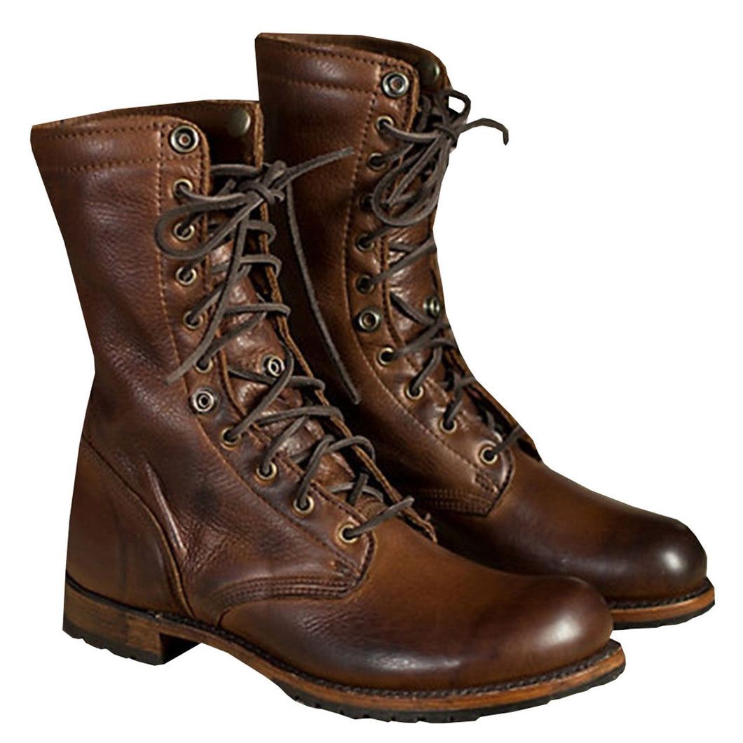Vintage Quality Leather Waterproof Combat/Motorcycle Boots