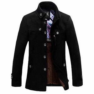 Stand-up Collar men's Thickened Wool Coat*