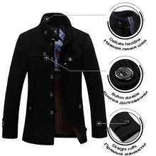 Load image into Gallery viewer, Stand-up Collar men's Thickened Wool Coat*