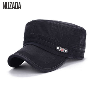 NAZUDA Vintage Cotton Solid Print Military Hat