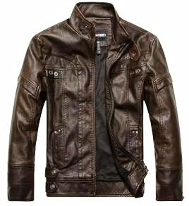 Motorcycle Leather Bomber Jacket w/Stand Up Collar*