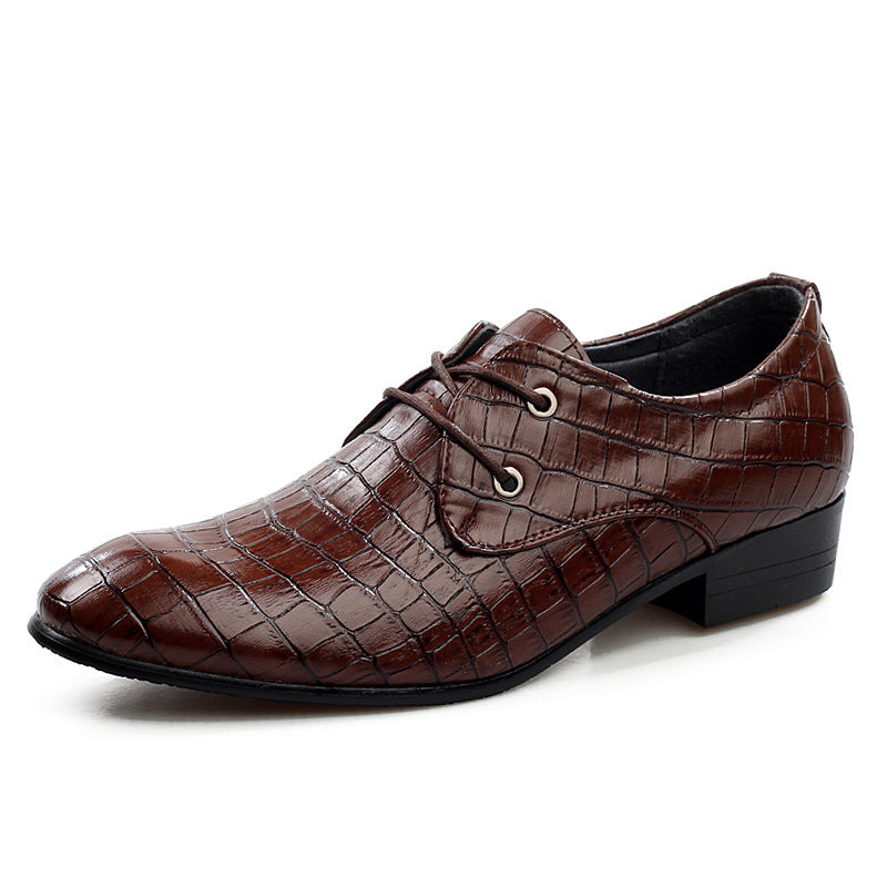 Mens British Style Alligator Pattern Pointed Toe Oxfords