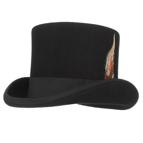 British Style Wool Steampunk Top Hat with Feather Cylinder