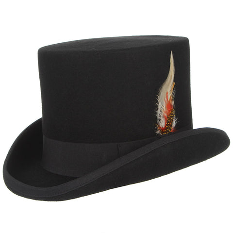 Beroemd British Style Wool Steampunk Top Hat with Feather Cylinder HUB TITAN @CU86