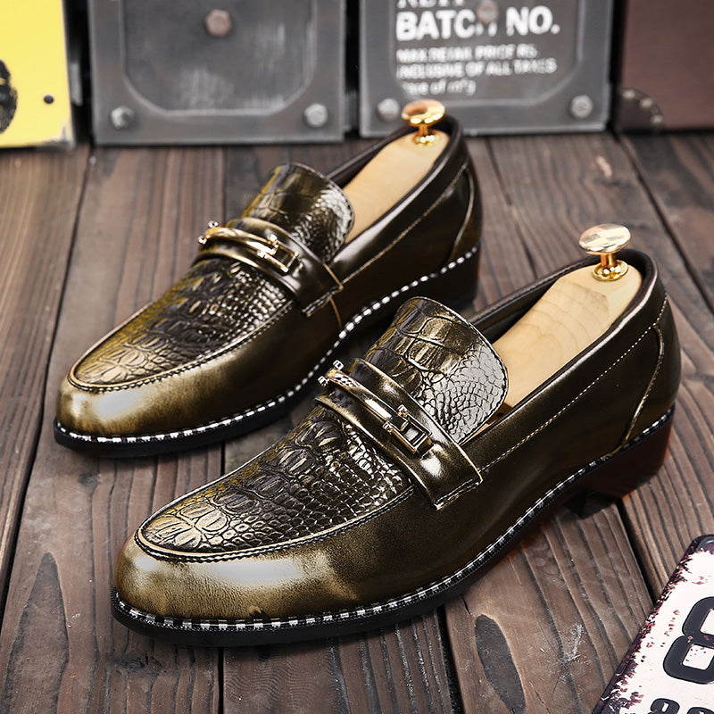 Mens Brish Style Pointed Toe Leather Slip-On Brogue  Shoe