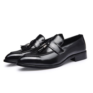 Mens British Style LeatherSlip-On Oxfords w/Tassels
