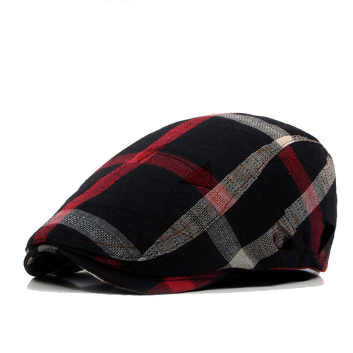 JEATNOILY Adjustable Plaid Lattice Beret Flat Cap* (55cm-60cm)