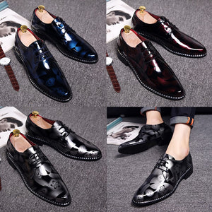 Mens British Style Patent Leather retro Print Oxfords