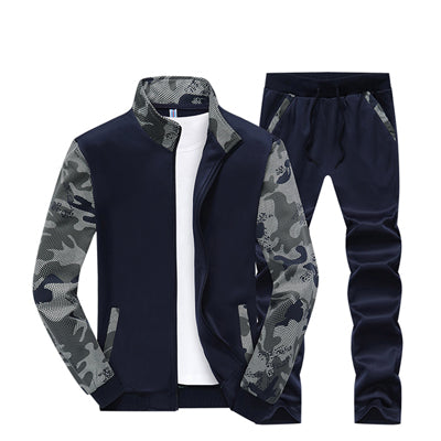 MENS CASUAL PATCHWORK CAMO PRINT RUNNING SUIT