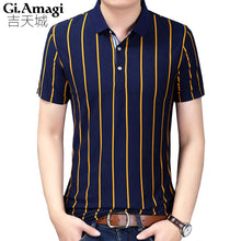 Load image into Gallery viewer, Men's striped Short Sleeve Polo Style Shirt