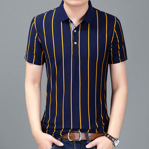Men's striped Short Sleeve Polo Style Shirt