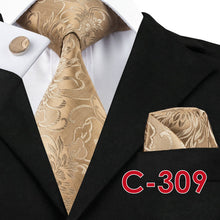 Load image into Gallery viewer, Mens Golden Brown Jacquard Silk Tie Set*