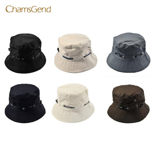 CHAMSGEND Solid Pattern Double-Sided Cotton Bucket Hat