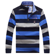 Load image into Gallery viewer, Men's Casual Long Sleeve Wide Striped Polo Shirt