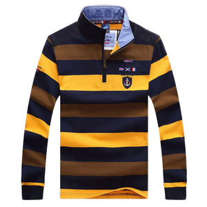 Men's Casual Long Sleeve Wide Striped Polo Shirt