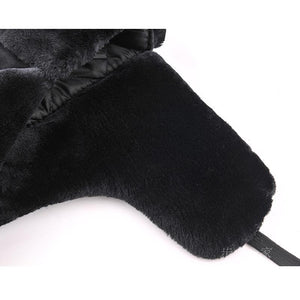 Men's Thick Fur Ear Velvet Snow Bomber Cap