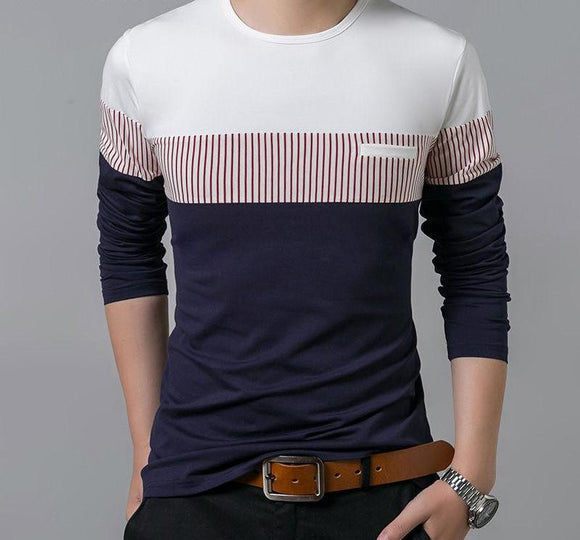 Mens Long Sleeve O-Neck Patchwork Cotton Tee