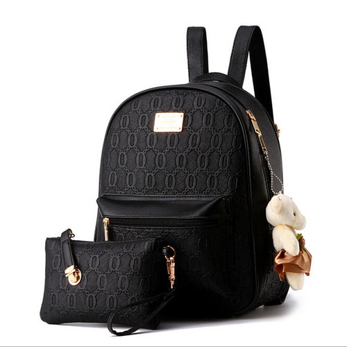 Leather School Casual Style Backpack w/ Teddy Bear Ornament