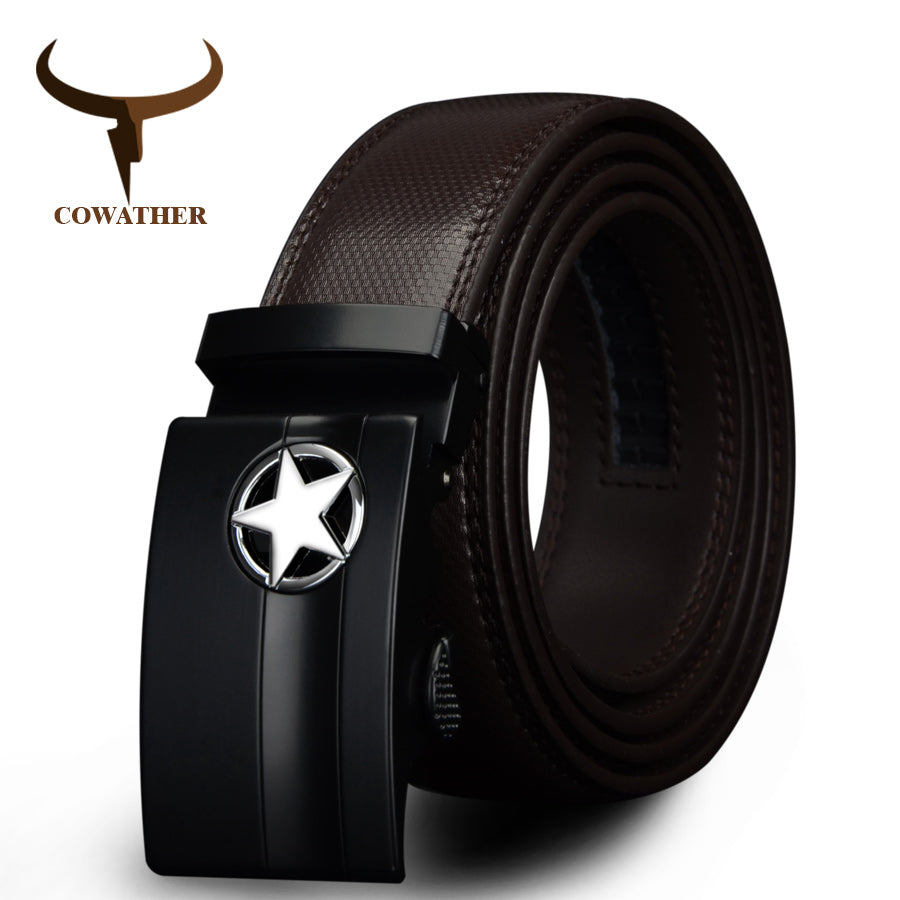 Mens Genuine Leather Cowskin Belt Automatic Buckle
