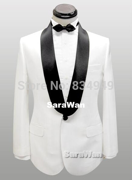 Custom Made White tuxedo with Wide Shawl Lapel and Black Pants