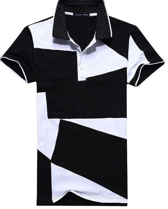 Mens Casual Monochomatic Patchwork Polo
