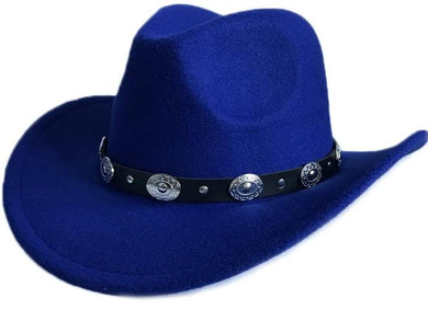 Solid Pattern Vintage Winter Western Cowboy Hat with Leather Strap* (57cm)