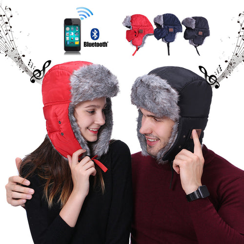 Wireless Bluetooth Fur Ear Smart Bomber Cap