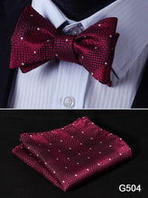 Load image into Gallery viewer, Plaid Silk Woven Bow Tie Set