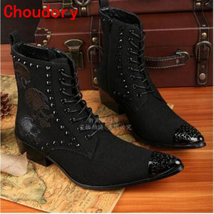 Mens Western Style Black Strap Italian Pointed Toe Ankle Boots