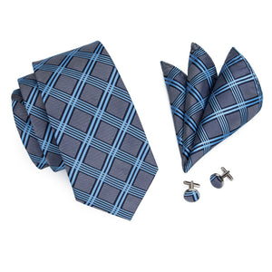 Mens Classic Dark Gray Silk Plaid Neck Tie Set*