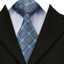 Load image into Gallery viewer, Mens Classic Dark Gray Silk Plaid Neck Tie Set*