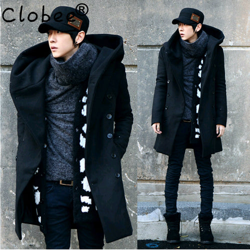 CLOBEE Double-Breasted Long Wool Overcoat Style Peacoat