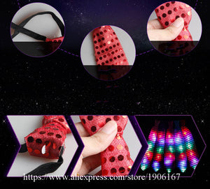 Colorful LED Sparkly Elasticated Sequin Flashing Neck Tie