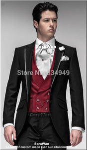 Custom Made Single-Breasted Black Suit with Silver Lapel